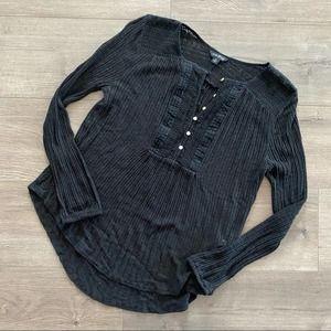 Lucky Brand Black Crochet Knit Long Sleeve Top